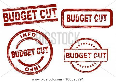 Set of stylized stamps showing the term budget cut. All on white background.
