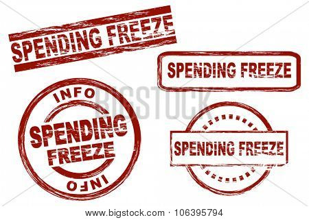Set of stylized stamps showing the term spending freeze. All on white background.