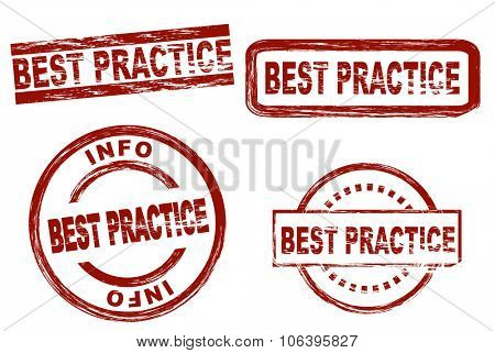 Set of stylized stamps showing the term best practice. All on white background.