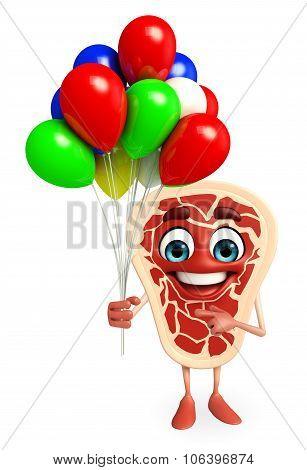 Meat Steak Character With Balloon