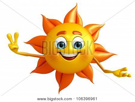 Sun Character With Victory Pose