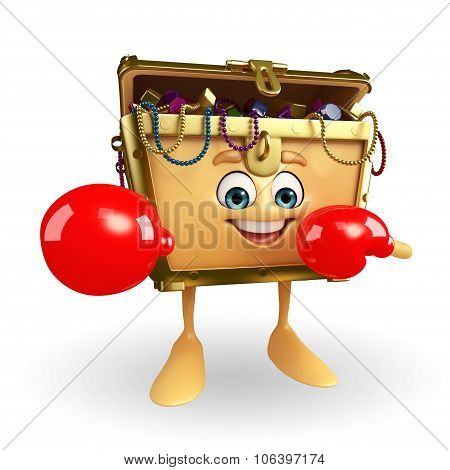 Treasure Box Character With Boxing Glove