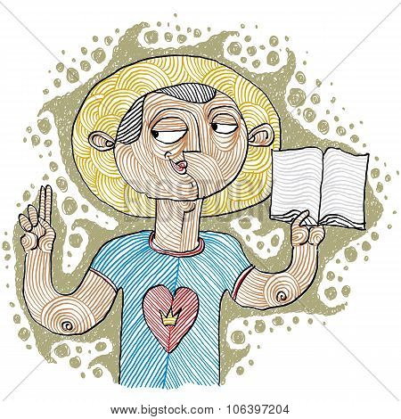 Apostil Holding A Bible. Hand-drawn Illustration Of Believer, Bible Character. Saint Metaphor.