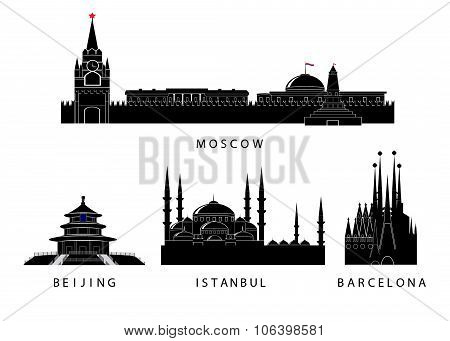 silhouettes of landmark of the cities.
