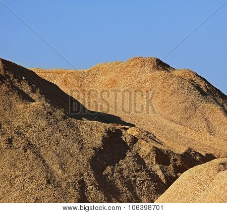 Wood Chips Pile Blue Sky Sawdust