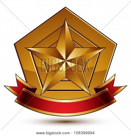 Vector Glorious Glossy Design Element, Luxury 3D Pentagonal Golden Star Placed On A Decorative Blazo