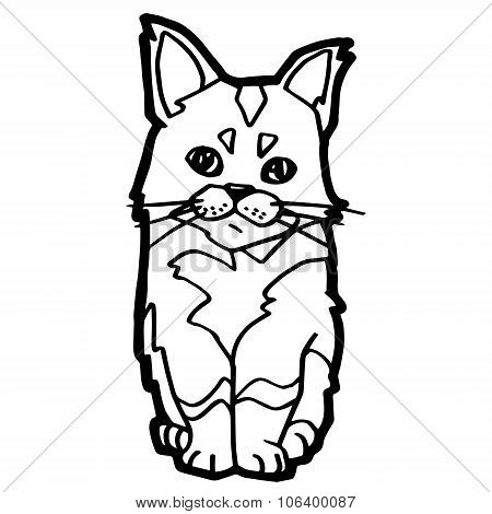 cartoon Cat Coloring Page for kid isolated on white