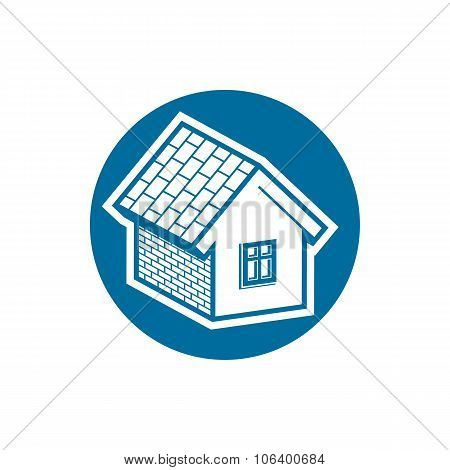 Property Symbol, Vector House Constructed With Bricks. Real Estate Agency Theme. Round Sign With Hom