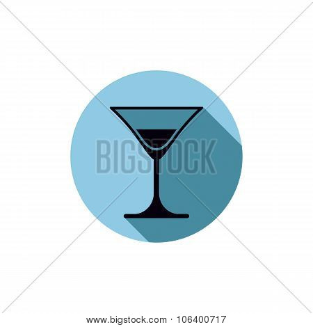 Classic Half Full Martini Glass, Alcohol And Entertainment Theme Illustration. Party Lifestyle Graph