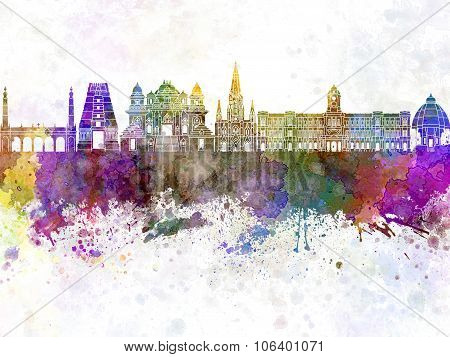 Chennai Skyline In Watercolor Background