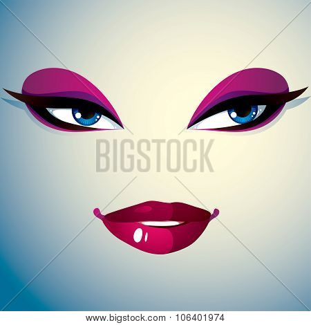 Facial Expression Of Young Pretty Woman, Lady Visage, Human Eyes And Lips.