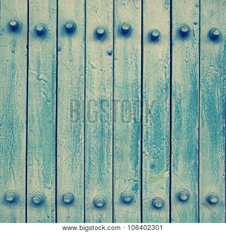 Blue Metal Door (vintage Effect Style And Noise Added)