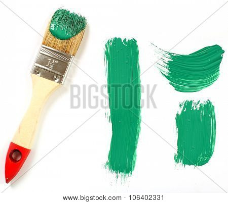 Green paint on a white background