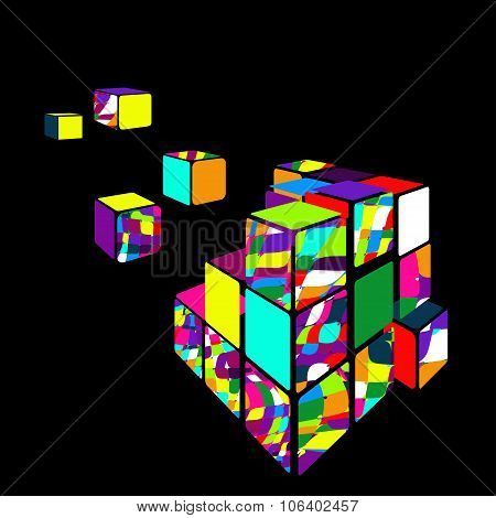 Rubik cube 3D with black background.