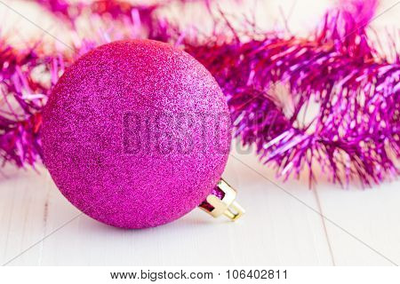 Purple Bauble And Tinsel