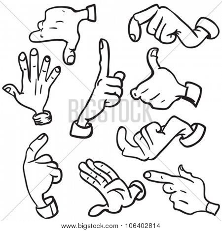 simple black and white hands cartoon