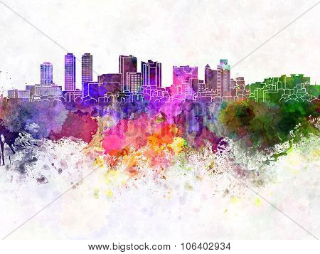 Colombo Skyline In Watercolor Background