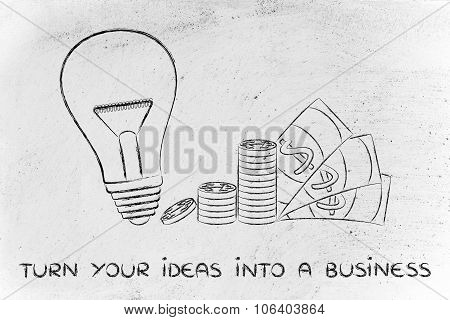 Lightbulb Next To Coin Stacks And Cash, Concept Of Turning Your Ideas Into A Business