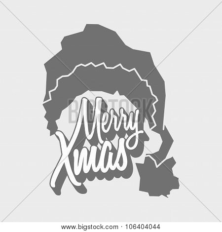 Vector Christmas Logo Concept With Merry Xmas Titling And Santa Claus Hat.
