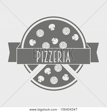 Vector Vintage Logotype Or Poster Concept Of Pizzeria. Hipster Italian Food Logo Template.