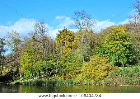 Autumn landscape in the park, in late October, the autumn lake.