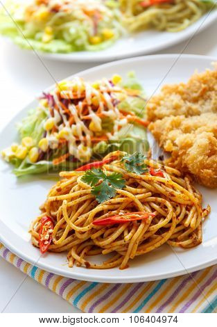 Thai Red Curry  Spaghetti With Fried Fish.