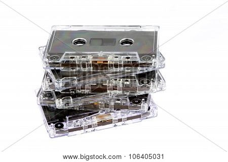 Obsolete Audio Tape Cassettes On White Background