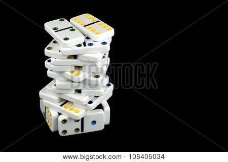 Domino Tile Tower On Black Background
