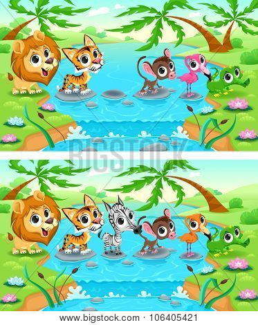 Spot the differences. Two images with six changes between them, vector and cartoon illustrations