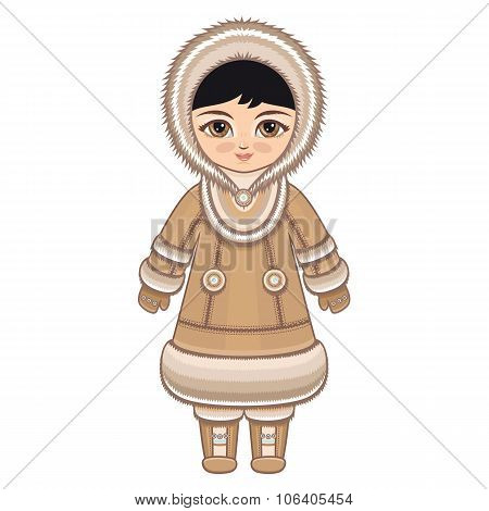 The girl in Eskimo dress. Historical clothes.