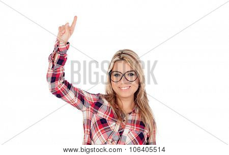 Cute Blonde Girl with glasses asking to speak isolated on a white background