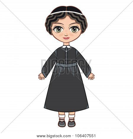 The girl in Orthodox Jews  dress.  Historical clothes.