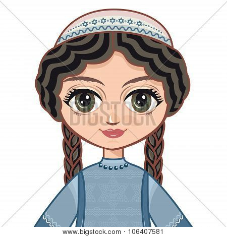 The girl in Orthodox Jews  dress. Portrait, avatar.