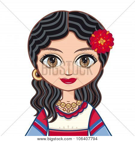 Portrait, avatar. The girl in Gypsy dress.