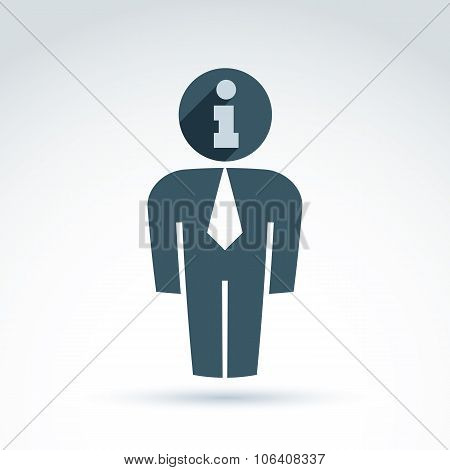 Silhouette Of Person Standing In Front, Vector Illustration Of An Office Manager.  Delegate,