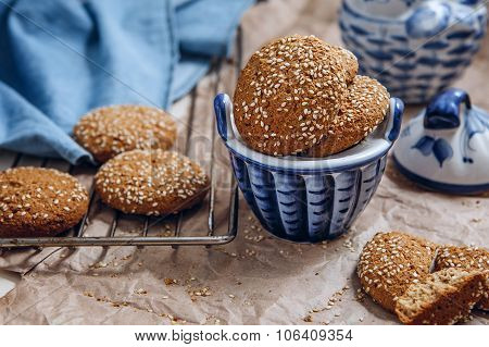 Oatmeal Cookies With Sesame Seeds.