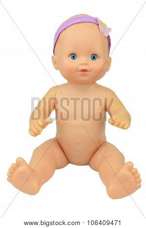 Naked Baby Doll Sitting Pose, Isolate Background