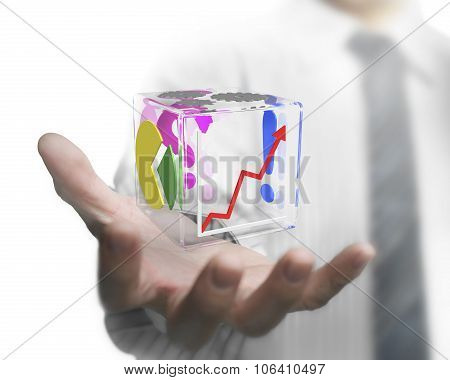 Businessman Hand Showing Glass Transparent Cube
