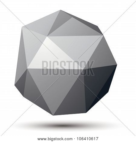 Vector Complicated 3D Figure, Modern Digital Technology Style Form. Abstract Unusual Gray Three-dime