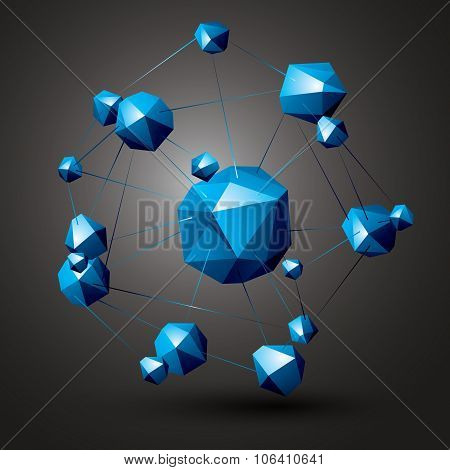 Geometric Colorful Polygonal Structure, Modern Science And Technology Element. Architectural Modelin