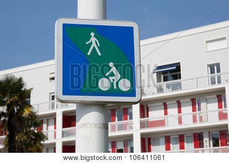 Pedestrian And Bicycle Crossing Sign.