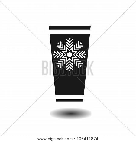 Plastic Cup With Hot Beverage Monochrome Flat Icon