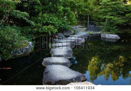 Step stone path in Japanese garden