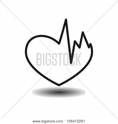 Broken Heart, Heart Problems Monochrome Flat Icon
