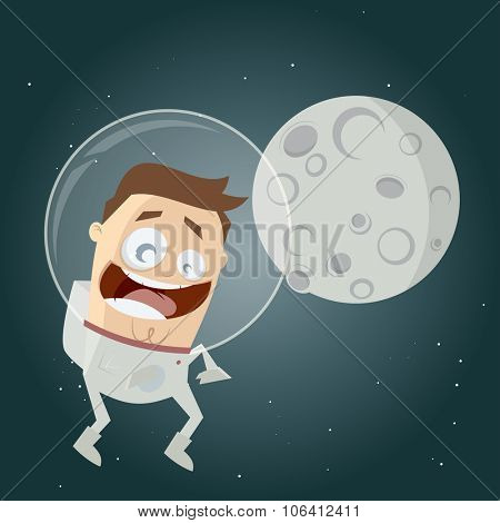 funny cartoon astronaut and the moon