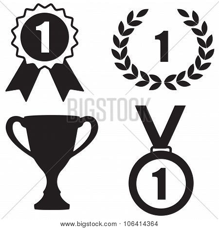 Trophy and awards icons set: Badge With Ribbons, Laurel wreath,Trophy cup and Medal. First place or