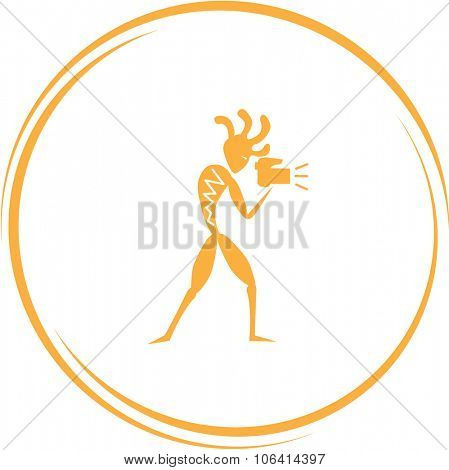 ethnic little man with camera. Internet button. Vector icon.