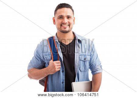 Happy Hispanic College Student