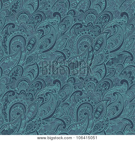 colorful paisley seamless pattern in asian textile style