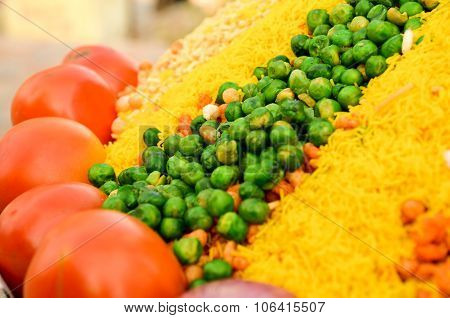 peas, tomatoes and sev for bhelpuri